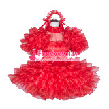 French Sissy Maid Lockable Red Organza satin Dress Uniform Cosplay Costume Tailor-made[G4064]
