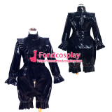 French Sissy Maid Lockable Black PVC Romper Dress Uniform Cosplay Costume Tailor-made[G4010]