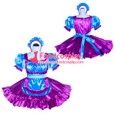 French Sissy Maid Lockable Blue purple satin Dress Uniform Cosplay Costume Tailor-made[G4015]