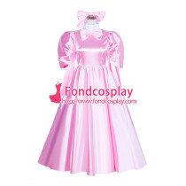 French Sissy Maid Lockable Baby Pink satin long Dress Uniform Cosplay Costume Tailor-made[G4036]