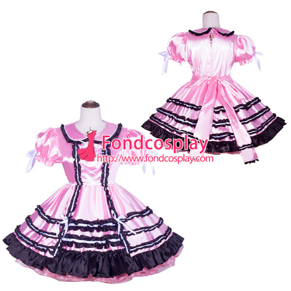 French Sissy Maid Lockable pink satin Dress Uniform Cosplay Costume Tailor-made[G4068]