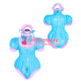 French Sissy Maid Lockable Blue PVC Romper Dress Uniform Cosplay Costume Tailor-made[G4050]