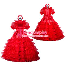 French Red Organza Satin Sissy maid dress lockable lolita TV costume Tailor-made[G4024]