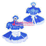 French Sissy Maid Lockable Blue dots satin Dress Uniform Cosplay Costume Tailor-made[G4017]