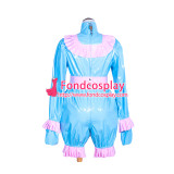 French Sissy Maid Lockable Baby blue PVC Romper Dress Uniform Cosplay Costume Tailor-made[G4063]