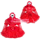 French Sissy Maid Lockable Red Organza satin Dress Uniform Cosplay Costume Tailor-made[G4016]