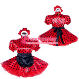 French Sissy Maid Lockable Red dots satin Dress Uniform Cosplay Costume Tailor-made[G4021]