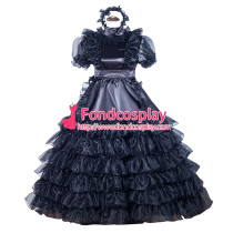 French Black Organza Satin Sissy maid dress lockable lolita TV costume Tailor-made[G4025]