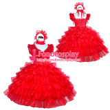 French Sissy Maid Red satin Organza Dress Uniform Cosplay Costume Tailor-made[G4009]