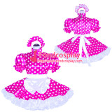 French Sissy Maid Lockable hot pink dots satin Dress Uniform Cosplay Costume Tailor-made[G4045]