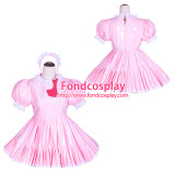 French Sissy Maid Lockable Baby Pink PVC Dress Uniform Cosplay Costume Tailor-made[G4020]