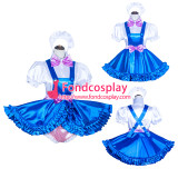 French Sissy Maid Lockable blue satin Dress Uniform Cosplay Costume Tailor-made[G4032]