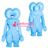 French Sissy Maid Lockable Baby blue PVC Romper Dress Uniform Cosplay Costume Tailor-made[G4013]