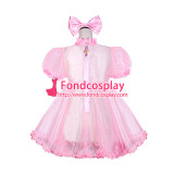 French Sissy Maid Lockable Baby pink Organza Dress Uniform Cosplay Costume Tailor-made[G4052]