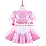 French lockable Faux leather pink Sissy Maid dress Tailor-made[G1424]
