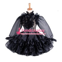 French Sissy Maid Black Organza Lockable Uniform Dress Cosplay Costume Tailor-Made[G1214]