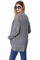 Grey Hollow Out Knit Long Sleeves Cardigan