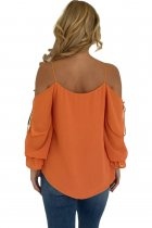 Orange Spaghetti Strap Cold Shoulder Long Sleeve Top
