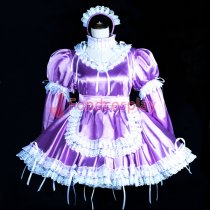 lockable Sissy maid satin dress purple cosplay CD/TV Tailor-made[G3847]