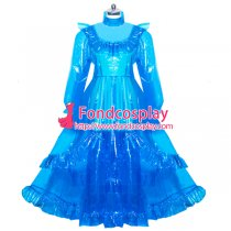 lockable blue clear PVC sissy maid long dress unisex Tailor-made[G3917]