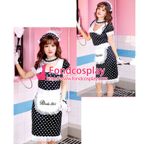 polka dots Satin lockable Sissy Maid dress unisex CD/TV Tailor-made[G3922]