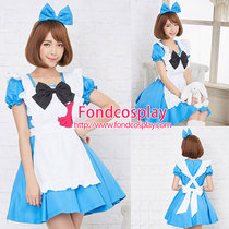 French lockable sissy maid blue Satin dress cosplay Unisex Tailor-made[G3923]