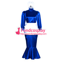 French Satin lockable Sissy Maid long fishtail dress Tailor-made [G3867]