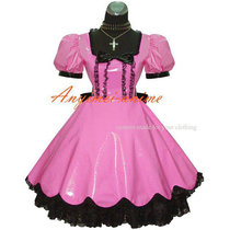 French Sissy Maid Gothic Lolita Punk Pink Pvc Dress Cosplay Costume Tailor-Made[G414]