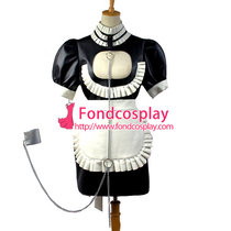 French Sexy Sissy Maid Dress Faux Leather Dress Lockable Uniform Cosplay Costume Custom-Made[G829]