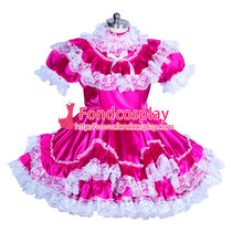 French lockable lolita dress Sissy maid Satin cosplay costume Tailor-made[G3929]