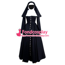 French Black Gothic Sissy Maid Nun Dress Outfit Cosplay Costume Tailor-Made[G883]