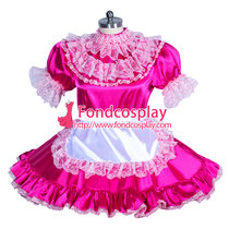 French Sissy maid Satin lockable dress Uniform cosplay costume Tailor-made[G3933]
