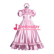 French Lockable satin long sissy dress gothic lolita Tailor-made [G3864]