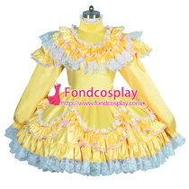 French lockable Sissy maid yellow satin dress Unisex TV Tailor-made[G3918]