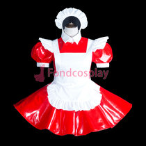 French lockable-Sissy maid PVC dress Uniform cosplay costume Tailor-made[G3844]