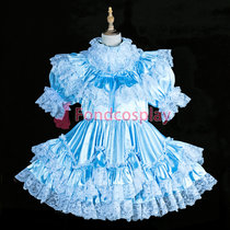 French lockable Sissy maid Satin-Jacquard dress cosplay costume Tailor-made[G3838]