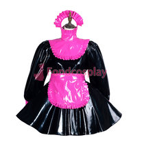 French Sissy maid PVC lockable dress Uniform cosplay costume Tailor-made[G3817]