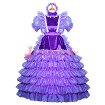 French Purple Satin Sissy maid dress lockable lolita TV costume Tailor-made[G3851]