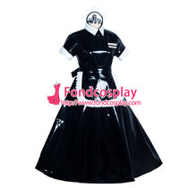 French heavy PVC lockable black sissy maid dress Unisex Tailor-maid[G3919]