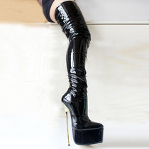 French Pleaser Seduce Crossdresser Sissy Maid Thigh High Boots 22CM