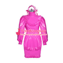 French hotpink PVC sissy maid dress lockable unisex Tailor-made[G3877]