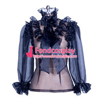 sexy Organza Blouse transparency shirt costume Tailor-made [G3870]