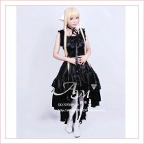 Gothic Lolita Chobits Chii Black Satin Dress Cosplay Costume Tailor-Made[G648]