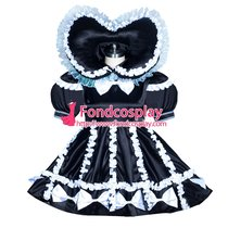 French Sissy maid Satin lockable dress Uniform cosplay costume Tailor-made[G3937]