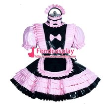 French Sissy maid PVC lockable dress Uniform cosplay costume Tailor-made[G3943]