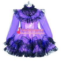 French lockable purple clear PVC sissy maid dress unisex Tailor-made[G3955]