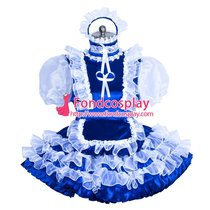 French Sissy maid satin lockable dress Uniform cosplay costume Tailor-made[G3958]