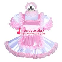 French Sissy maid satin lockable dress Uniform cosplay costume Tailor-made[G3961]