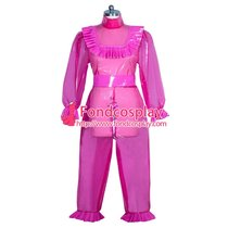 French lockable hot pink clear PVC sissy maid dress unisex Tailor-made[G3960]