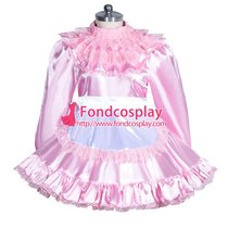 French Sissy maid satin lockable dress Uniform cosplay costume Tailor-made[G3957]